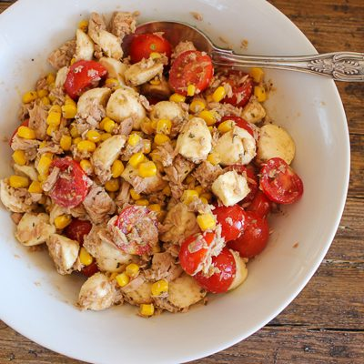 Tomato corn and mozzarella salad