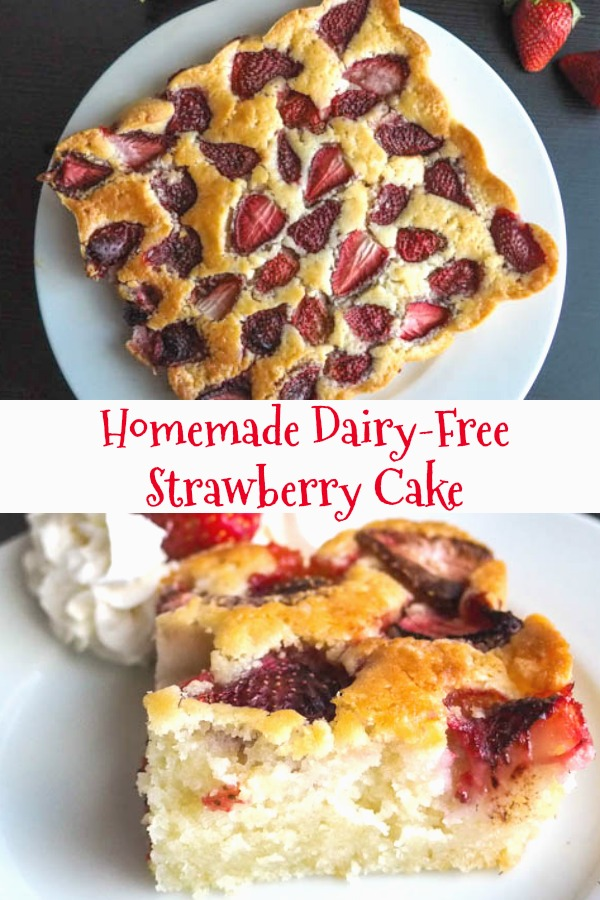 This delicious Dairy-Free Strawberry Cake is made with coconut milk and oil, so moist and tasty.  Full of strawberries, the perfect snack or even breakfast cake.#cake #strawberrycake #breakfast #dairyfree #dessert